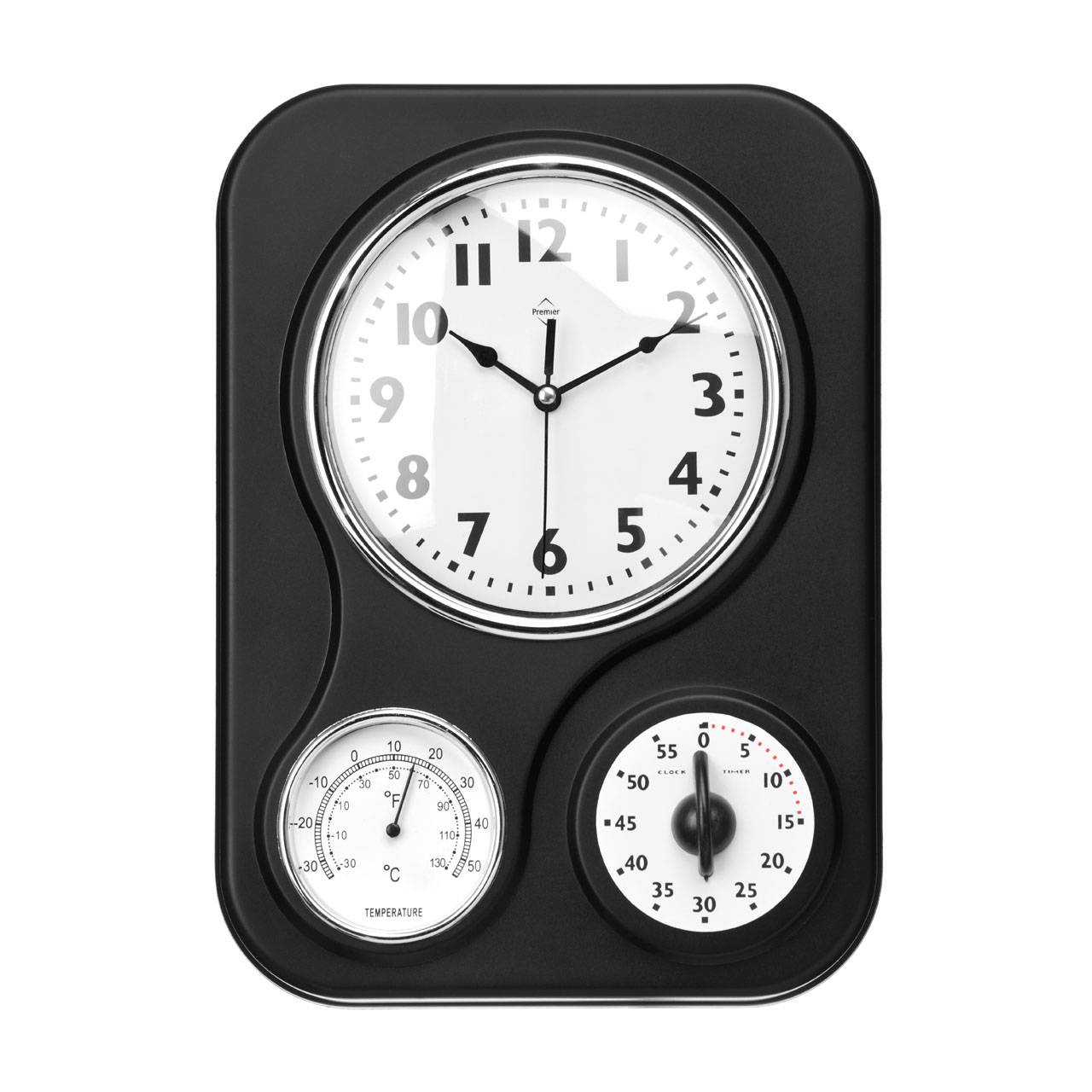 Clock - Black Wall Clock Thermometer Timer