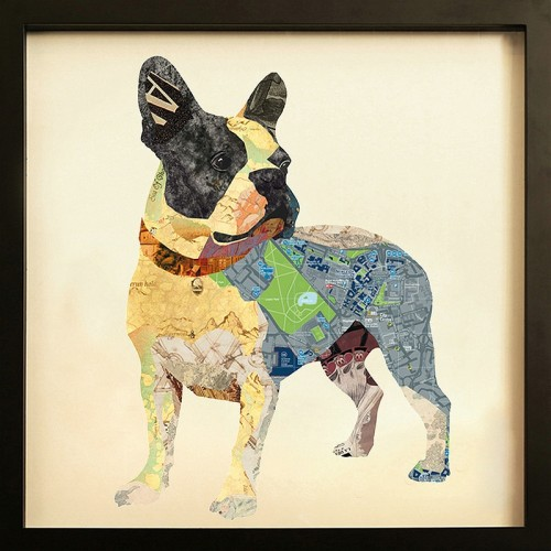 French Bulldog collage framed art